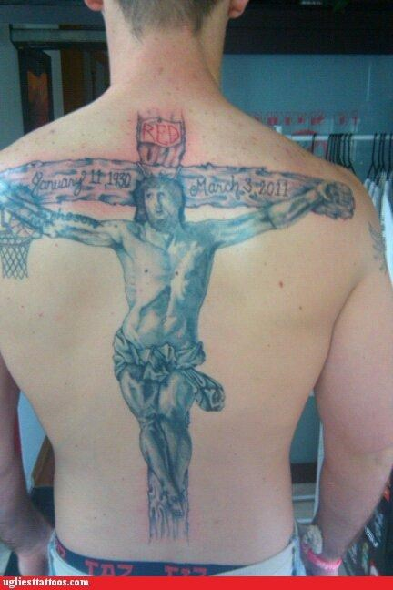 back tattoos basketball crucifix jesus slam dunk