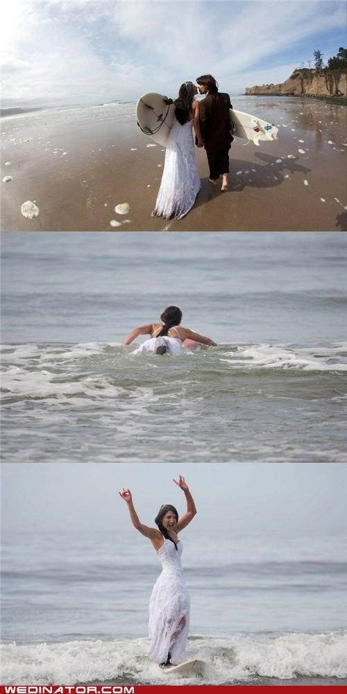 beach wedding bride funny wedding photos Hall of Fame surfing - 4931945216