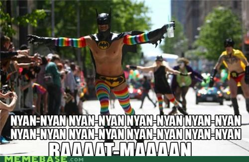 batman,IRL,nyan,Nyan Cat,pride,rainbows,superheroes