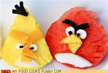 angry birds,carving,fruit,pineapple,watermelon
