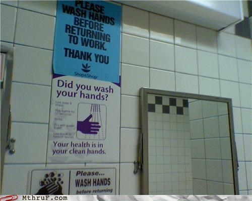 bathroom signs wash your hands