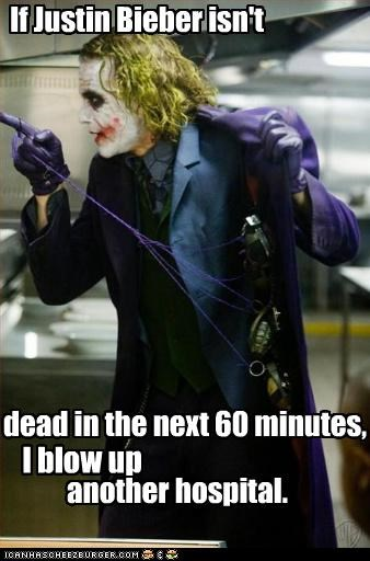 actor batman celeb funny heath ledger joker justin bieber - 4936246016