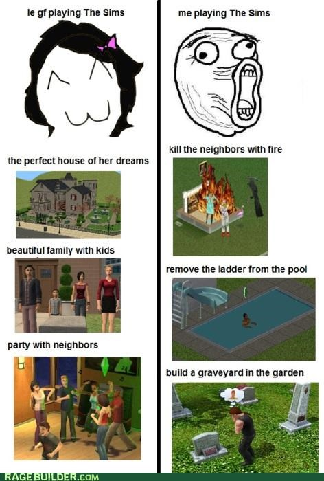 men and women Rage Comics The Sims torture