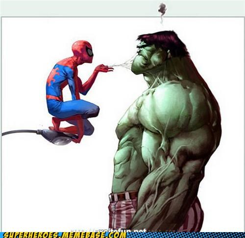 Awesome Art,creepy,hulk,Spider-Man,web,wtf