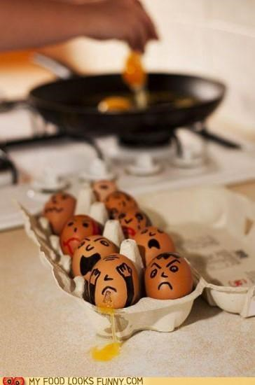 crack eggs faces frightened gross puke scared - 4937649920