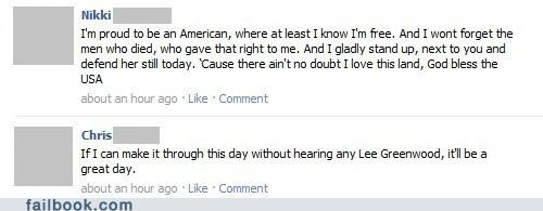 4th of july,lee greenwood,status updates,timing