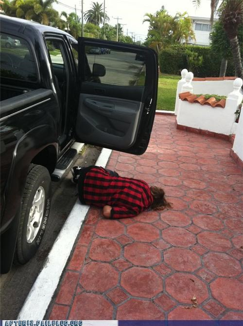 curled up passed out truck - 4938190848
