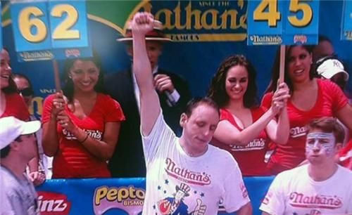 Competitive Eating Joey Chestnut nathans-hot-dog-eating-c Sonya Thomas Takeru Kobayashi - 4938481920