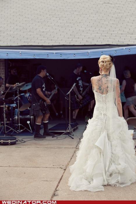 funny wedding photos rock rock n roll tattoos wedding dress