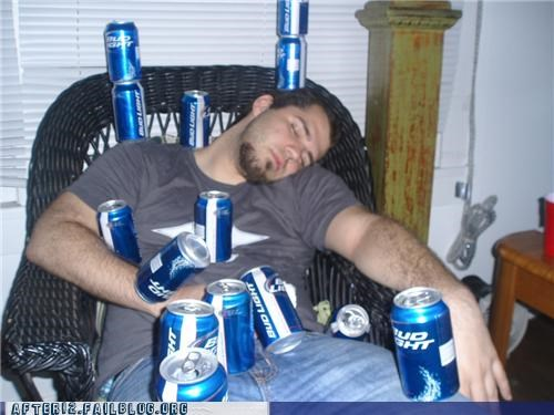 bud light,cans,passed out,stacked