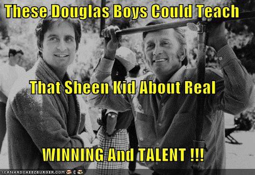 actor,celeb,funny,kirk douglas,Michael Douglas