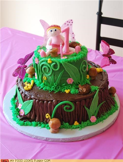 birthday,cake,epicute,fairy,grass,one year old,pink,plants