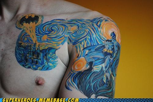 batman,Random Heroics,starry night,tattoo,Van Gogh