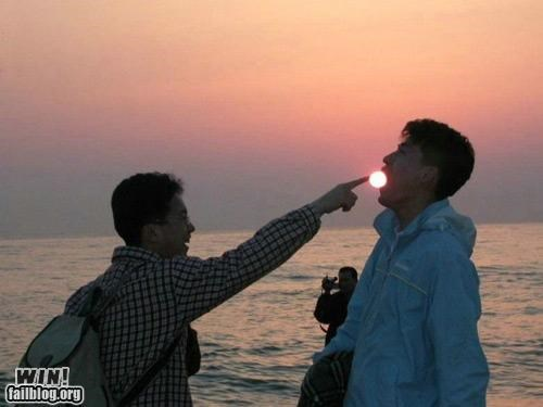 clever,photography,positioning,sunset,The Sun