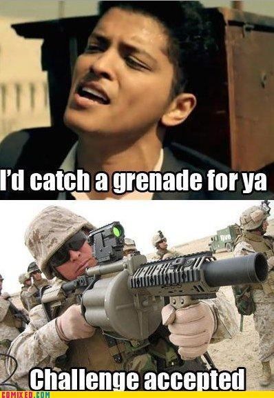 bruno mars,Challenge Accepted,grenade,gun,Music