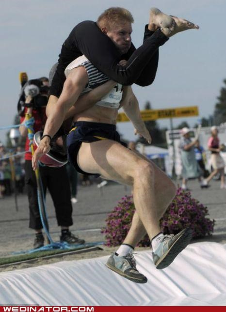 Finland funny wedding photos sports wife carrying championships