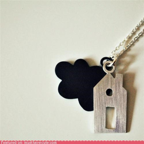 black,chain,cloud,house,Jewelry,necklace,pendant,silver