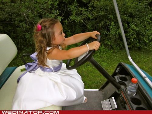 flower girl,funny wedding photos,golf cart