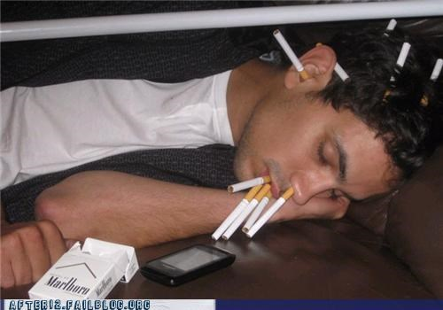 cigarettes passed out smoking - 4943838464