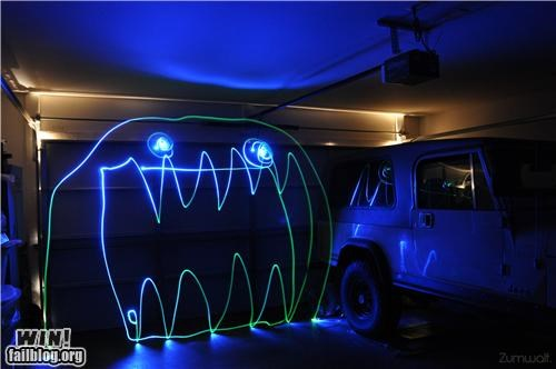 cool,garage,illusion,light,monster