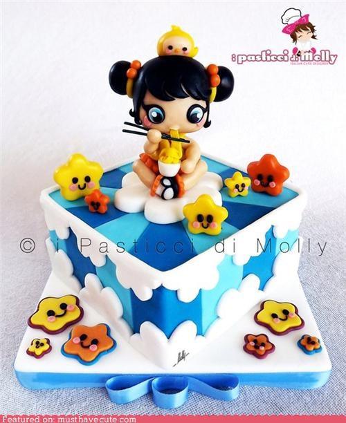 blue cake chopsticks clouds epicute fondant girl noodles stars - 4944554240