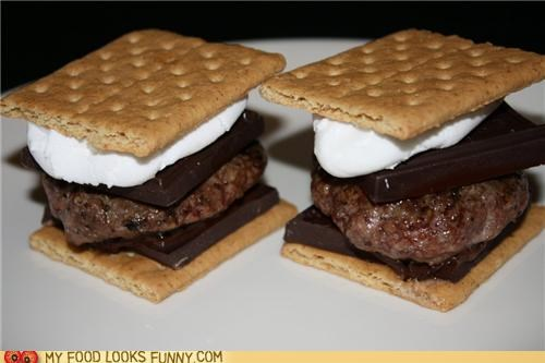burger,chocolate,graham cracker,marshmallow,meat,smores