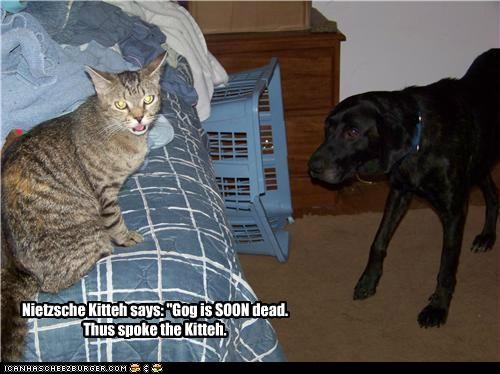 "Nietzsche Kitteh says: ""Gog is SOON dead.Thus spoke the Kitteh."