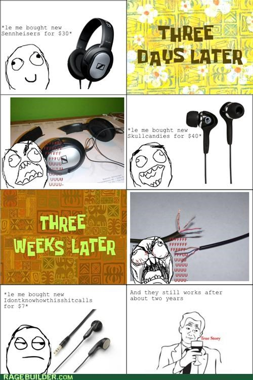 earbuds earphones fu guy headphones Rage Comics true story - 4945428736
