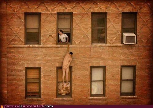 dangerous hanging no clothes window wtf