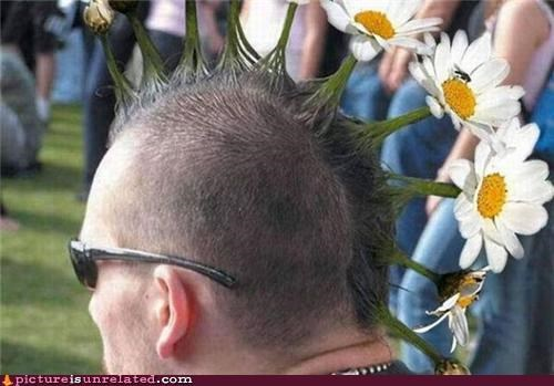 flowers hair mohawk wtf