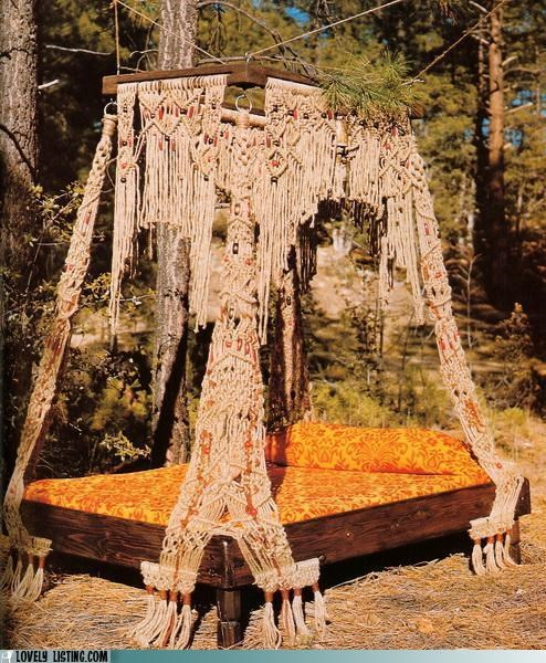 bed,macrame,outdoors,tacky,waterbed,woods