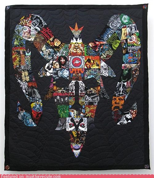 goat skull heavy metal quilt Recycled shirts - 4945742848