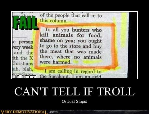 animals,hilarious,hunters,news article,stupid,troll