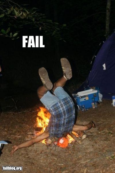 burn camping failboat falling fire g rated ouch - 4945794816