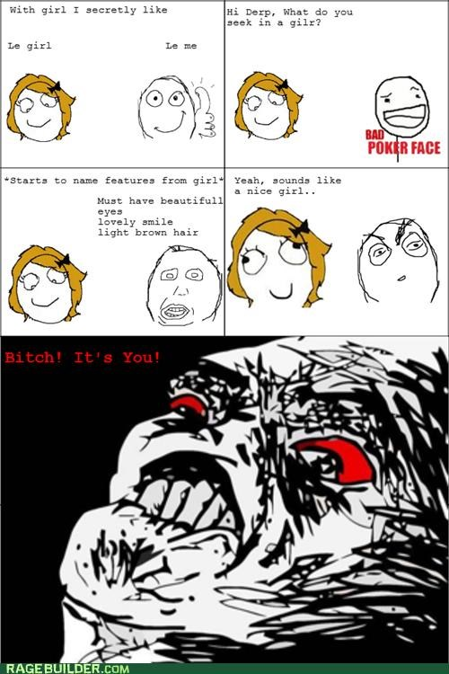 Awkward bad poker face dating dumb girl Rage Comics - 4945882880