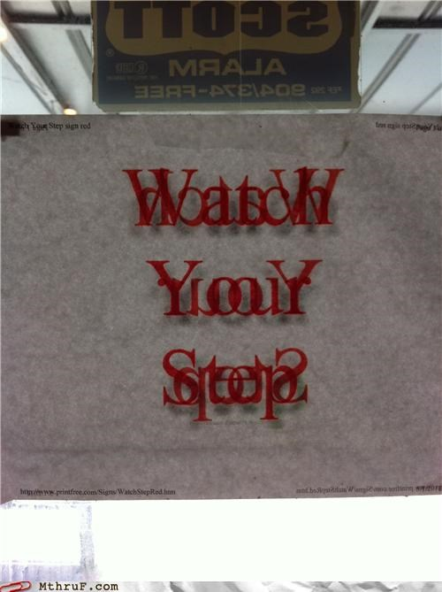 glass door,sign,watch your step