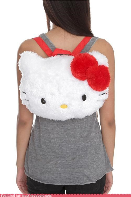 backpack bow face fuzzy head hello kitty - 4946219520