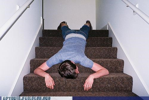 passed out,slinky,stairs