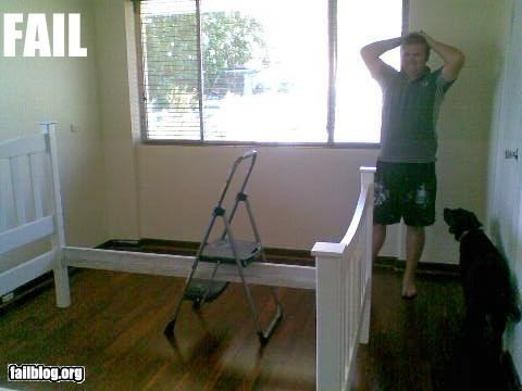 construction DIY fail dad failboat g rated ikea ladder stuck - 4948019968