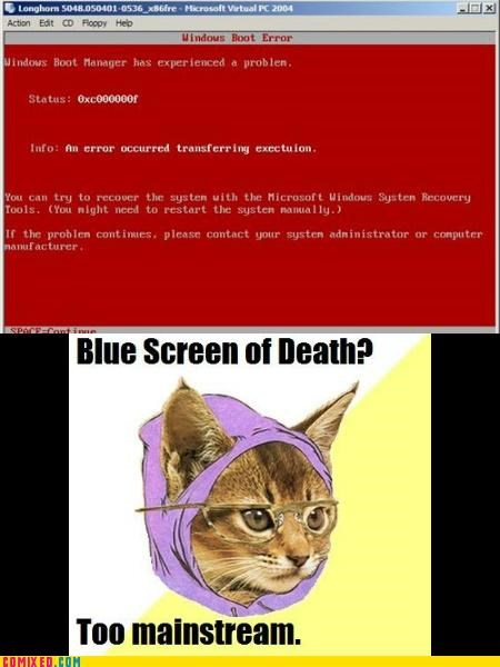 blue screen,Death,hipster cat,red,the internets