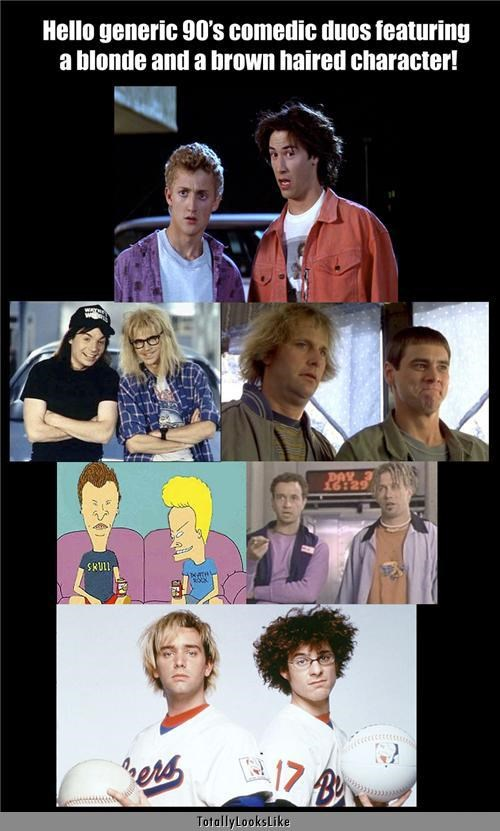 actors Alex Winter baseketball beavis and butthead bill-and-teds-excellent-adventure Bio-Dome blondes brunettes cartoons comedic duos dana carvey Dumb and Dumber jeff daniels jim carey keanu reeves Matt Stone Mike Meyers movies pauly shore Stephen Baldwin Try Parker waynes world - 4949457152