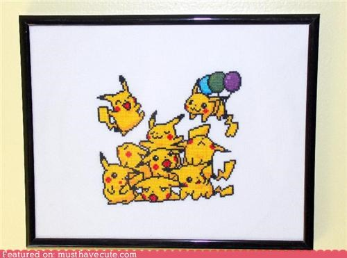Balloons,cross stitch,happy,pikachu,Pokémon