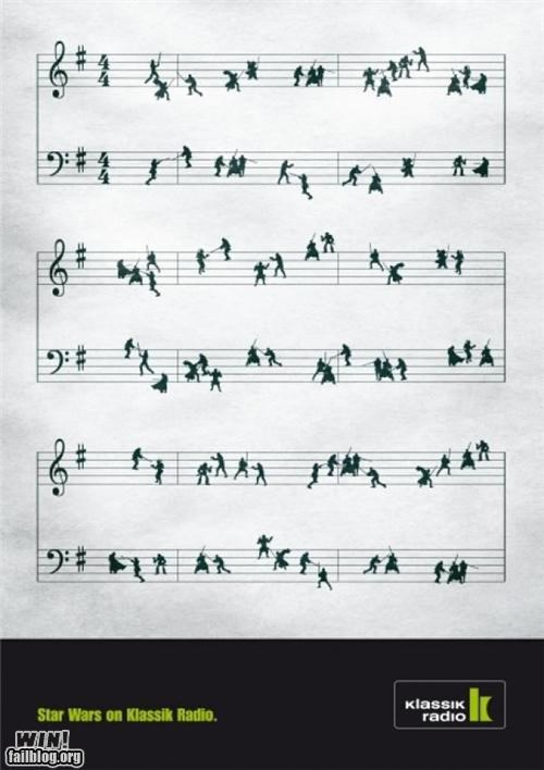 ads,clever,Jedi,Music,sheet music,star wars