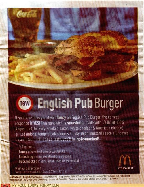 Ad,burger,english,fast food,McDonald's,pub