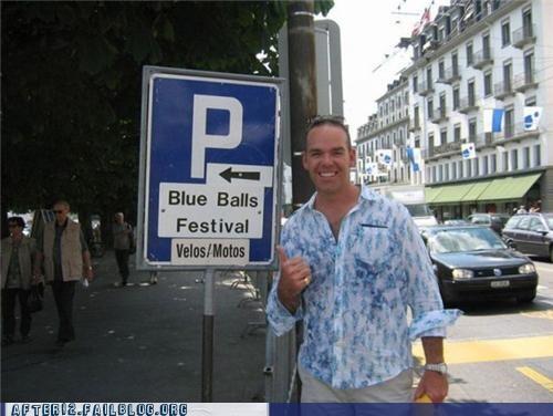 blue balls,festival,sign
