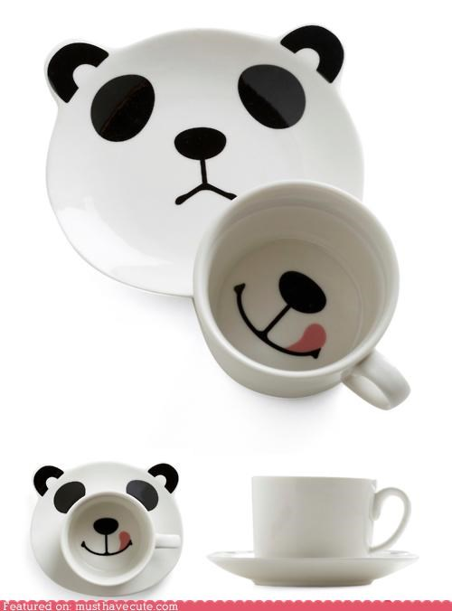 bear cup face panda saucer smile - 4950070784
