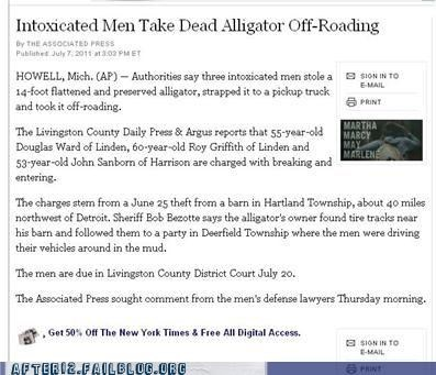 alligator,booze news,off roading