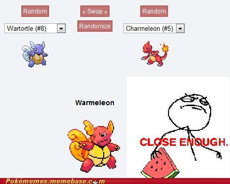 charmeleon Close Enough fusion Rage Comics wartortle watermelon - 4950215680
