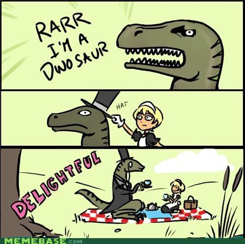 dinosaur fancy hat Memes - 4950268416