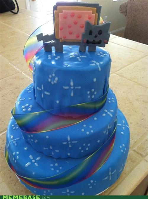 cake,food,frosting,IRL,Nyan Cat,rainbows
